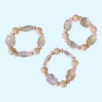 Three Light Pastel Pink Rose Bracelets with Translucent Pink Beads