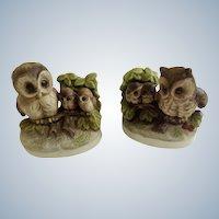 Vintage Hoot Owls with Owlet Babies Animal Figurines UCGC (United China & Glass Co.) Korea