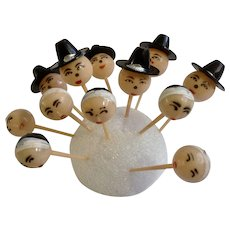 Mid-Century Thanksgiving Pilgrim Cupcake Picks Cake Toppers Plastic