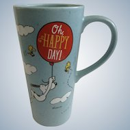 Hallmark Peanuts Snoopy & Woodstock, 'Oh Happy Day!' Shulz 20 oz Tall Coffee Mug Discontinued
