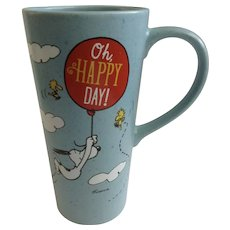 Hallmark Peanuts Snoopy & Woodstock, 'Oh Happy Day!' Shulz 20 oz Tall Coffee Mug Discontinued