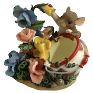 Fitz and Floyd Charming Tails Hi Sweet Pea Mouse and Ladybug Figurine #89/223
