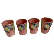 Small Vintage Majolica Tumbler Juice Cups Pink, Yellow and Blue Hand Painted Japan Hotta Yu Shoten & Co Pottery