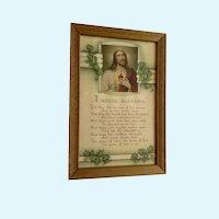 Vintage Poem Jesus House Blessing Framed Print