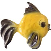 Ceramicraft Pottery Wall Plaque Fish Yellow San Clemente California 1950s Rainbow Glaze Finish
