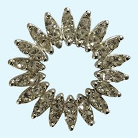 Faux Diamond Silver-Tone Burst of Sparkle Round Pin Brooch