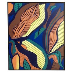Jan Wiemers Colorful Leaves Abstract Acrylic Painting on Canvas Signed by Nebraska Artist