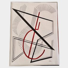 Jan Wiemers Geometric lines and circles Modern Abstract Acrylic Painting on Canvas Signed by Nebraska Artist