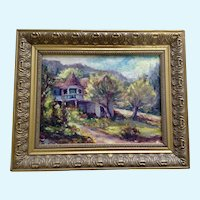 P Costello, The Turret House on the Hill Landscape Oil Painting