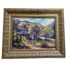P Costello, The Turret House on the Hill Colorful Landscape Oil Painting Signed by Artist