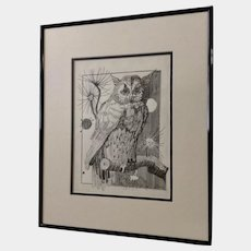 Jan Wiemers Owl Watching Over You Pen and Ink Drawing Signed by Nebraska Artist