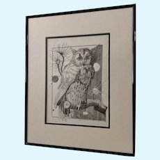 Jan Wiemers Witty Owl Pen and Ink Drawing Signed by Nebraska Artist