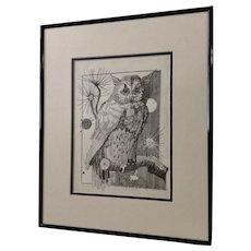 Jan Wiemers Witty Owl Pen and Ink Drawing Signed by Nebraska Artist