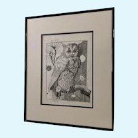 Jan Wiemers  Witty Owl Watching Pen and Ink Drawing Signed by Nebraska Artist