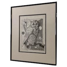 Jan Wiemers  Witty Owl Watching Pen and Ink Drawing Signed by Nebraska Artist