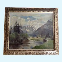 European Plain Air Mountain Landscape Oil Painting Signed by Artist