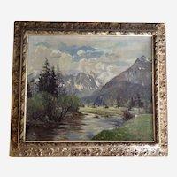 European Plain Air Mountain Landscape Oil Painting Signed by Artist