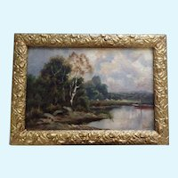 J Ducker (1910-1930) River Landscape Original Oil Painting on Board Signed by Listed English Artist