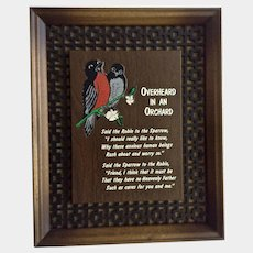 Overheard in an Orchard Robin & Sparrow Bird Encouragement Framed Plaque 1970's Picture Elizabeth Cheney Poem