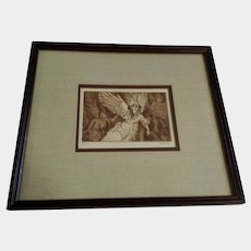 Vintage Angels Etching Sepia Colored Monogrammed by Artist 1979