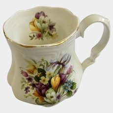 Vintage Royal Castle Floral Footed Mug Bouquet of flowers Coffee Cup England