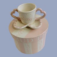 Mud Pie Princess Girl Pink Baby Heart Handled Cup