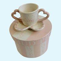 Mud Pie Princess Girl Pink Baby Heart Handled Cup