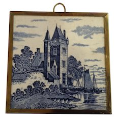 Old Tile Wall Plaque Delft Blue Dutch Transferware Castle Holland