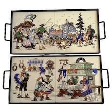 Serving Trays Traditional Folk German Wedding and Party Interior Scene Tile and Wrought Iron Germany