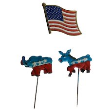 Republican Elephant, Democrat Donkey and the American Flag Lapel Politics Patriotic Pins
