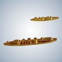 Gold-Tone Battle Destroyer Ship Navy Tie Lapel Pins Ballou