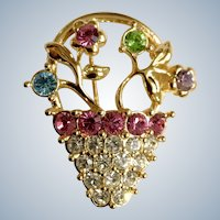 Vintage Easter Monet Sparkle Rhinestone Flower Gold-tone Basket Pin