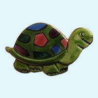 Adorable Clay Art Turtle Pin Brooch Hand Painted
