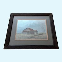 Glynn Moore Rural House on a Prairie Landscape Gouache Watercolor Painting