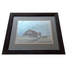 Glynn Moore Rural House on a Prairie Landscape Gouache Watercolor Painting Signed by Artist