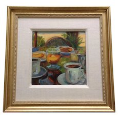 S Flavin, Breakfast Table Still Life Oil Painting Signed by Artist