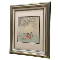 Chinese Woodblock Print Mandarin Ducks In Pond Monogrammed