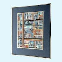 Jan Wiemers Colorful Decoupage Collage Signed by Nebraska Artist