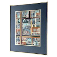 Jan Wiemers Colorful Decoupage Collage 'One of a Kind' Signed by Nebraska Artist