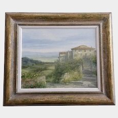 Antonietta Varallo, Enchanting Tuscany Landscape with Flower Gardens and Old Villas Original Oil Painting Signed by Artist