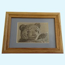 Millips, Baby Black Bear Pastel Drawing Signed by Artist