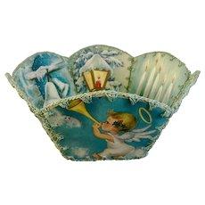 Mid-Century Christmas Card Holder Basket Bowl Handmade Crochet Stitched Ephemera Vintage Greeting Cards Angel Girls