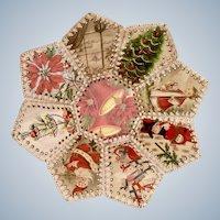 Mid-Century Christmas Card Holder Flower Basket Bowl Handmade Crochet Stitched Ephemera Vintage Greeting Cards Poinsettia