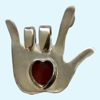 Love Sign Language Hand Sterling Silver with Heart Brooch Pin