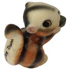 Grand Coulee Dam Chipmunk Squirrel holding an Acorn Nut Souvenir Bone China Miniature Figurine Made in Japan Animal Figurine