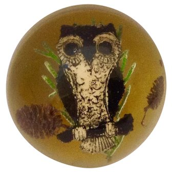Mid-Century Resin Owl Paperweight With Pinecones and Branch