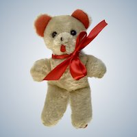 Mid-Century Teddy Bear Plush With Red Felt Feet and Ears