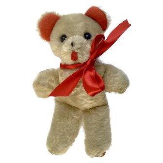Mid-Century Teddy Bear Plush With Red Felt Feet and Ears