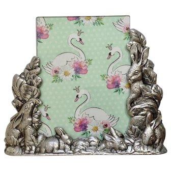 """Arthur Court Bunny Rabbit Picture Photo Frame 5"""" x 7"""" Double Sided Bunnies Aluminum Hollowware 1989"""