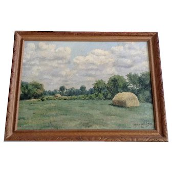 H. F. Curry, Pastoral Landscape in Hay Field Oil Painting Signed by Artist 1934